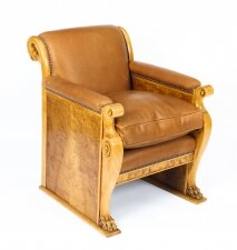 Antique Biedermeier Birch & Burr Walnut Armchair Circa 19th Century