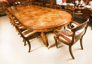 Bespoke Handmade Marquetry Burr Walnut Dining Table & 14 Dining Chairs