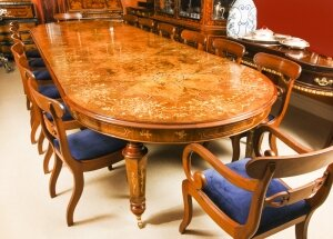 Bespoke Handmade Marquetry Burr Walnut Dining Table & 14 Antique Dining Chairs