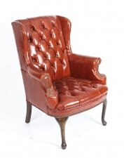Antique Leather Chippendale Wingback Chair Armchair C1900