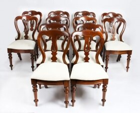 Antique Set 12 Victorian Mahogany Spoon Back Dining Chairs 19th C