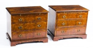 Superb Bespoke Pair of Burr Walnut Bedside Chests Cabinets With Slides