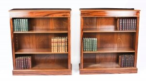 Bespoke Pair Mid Century Modernist Revival Low Rosewood Open Bookcases