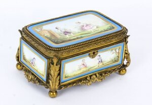 Antique French Sevres Porcelain and Ormolu Jewellery Casket C1860 19th C