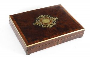 Antique Amboyna Tulipwood & Cut Bras Inlaid Games Box 19th Century