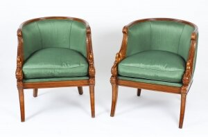 Pair Empire Revival Gilded Swan Neck Walnut Armchairs 20th C