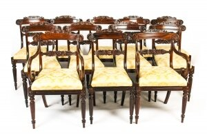Antique Set 12 William IV Rosewood Dining Chairs, att. to Gillows C1820 19th C