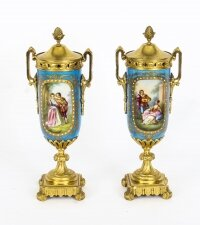 Antique Pair French Bleu Celeste Ormolu Mounted Sevres Lidded vases 19th C