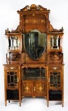 Antique Victorian Goncalo Alves Inlaid Side Cabinet 19th C
