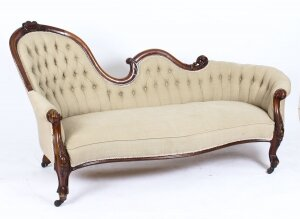Antique Victorian Mahogany Sofa Chaise Longue Settee 19th Century