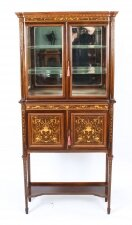 Antique Edwardian Inlaid Display Cabinet By Edwards & Roberts 20th C