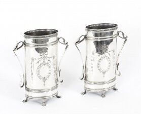 Antique Pair Victorian Neoclassical Silver Plate Vases Circa 1880 19th C