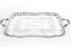 Antique Large Victorian Silver Plated Twin Handled Tray 1880 19th Century