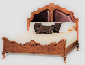 Vintage Super King Size Burr Walnut Queen Anne Revival Bed 20th C