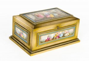Antique French Ormolu & Sevres Porcelain Jewellery Casket C1880 19th C