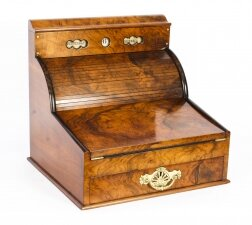 Antique Burr Walnut Writing & Stationery Box 19th Century