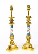Antique Pair French Ormolu & Sevres Bleu Celeste Porcelain Lamps 19th C