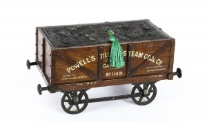 Antique Coal Wagon Oak Humidor Railway Interest 19th Century