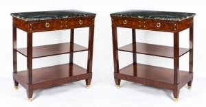 Antique Pair French Burr Walnut Empire Pier Cabinets Serving Tables 19th C