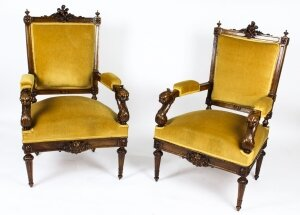 Antique Pair English Sculptural Victorian Walnut Armchairs 19th C