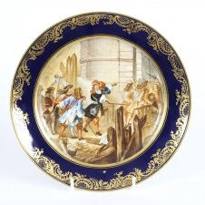 Antique French Sevres Porcelain Gilt Plate & 34 Prise de Valence& 34 19th C