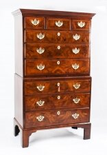 Antique George II Burr Walnut & Crossbanded Chest on Chest 18th C