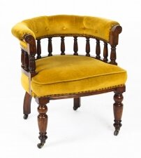 Antique Victorian Walnut Gold Velvet Desk Chair Tub Chair