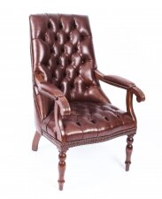 Bespoke English Handmade Carlton Leather Desk Chair Hazel