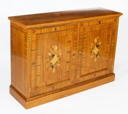 Bespoke Inlaid Satinwood & Marquetry Flat Screen TV Lift Cabinet