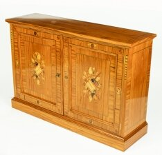 Bespoke Satinwood & Marquetry Inlaid Pier Side Cabinet
