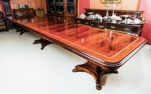 Bespoke Regency Revival 19ft Flame Mahogany Triple Pedestal Dining Table