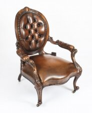 Antique Victorian Leather Spooback Armchair 19th Century