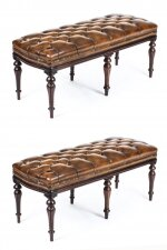 Antique Pair Leather Ottomans Window Seats Stools 19th C
