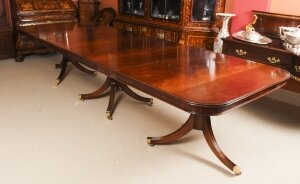 Bespoke 12ft Regency Revival Dining Table Inlaid Flame Mahogany