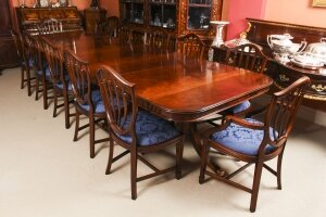 Bespoke 12 ft Three Pillar Mahogany Dining Table and 12 Chairs
