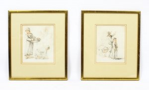 Antique Pair of Sketches by Thomas Barker of Bath 18th Century