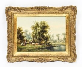 Antique Oil on Board Landscape Painting by Anthony De Bree 19 century