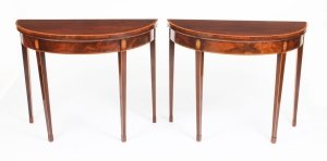 Antique Pair George IV Flame Mahogany Console Card Tables 19th Century
