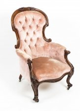 Antique Victorian Mahogany Spoon Backed Armchair 19th Century