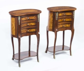 Pair French Walnut Kidney Bedside Chests Side Tables