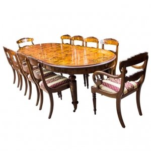 Stunning Bespoke Handmade Burr Walnut Marquetry Dining Table 10 Chairs | Ref. no. 00059a