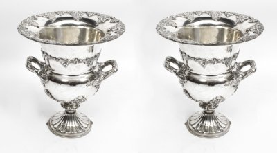 Exquisite Pair of Sheffield Silver Plated Wine Coolers