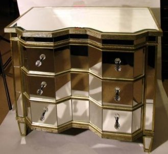 Stunning Serpentine Art Deco Mirrored Commode Chest