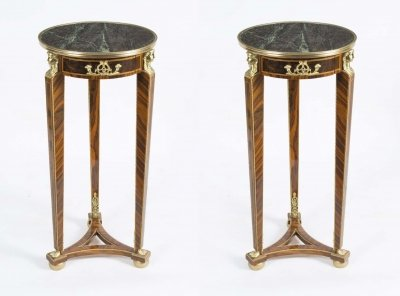 Pair of Empire Style Mahogany &amp Marble Pedestal Tables