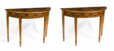 Superb Contemporary Pair Half Moon Mahogany and Marquetry Console Tables