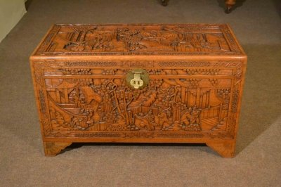 Vintage Chinese Camphorwood Trunk Coffer C1950