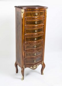 French Inlaid &amp Ormolu Semanier Tall Chest of Drawers