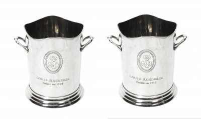 Gorgeous Pair Roederer Silver Champagne Coolers