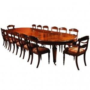 Bespoke Handmade Marquetry Burr Walnut Dining Table &amp 14 Chairs