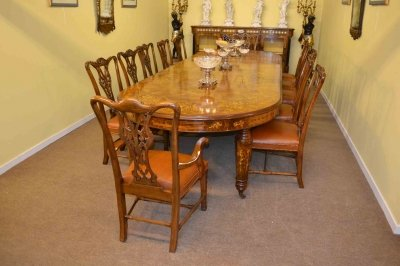 Stunning Bespoke Handmade Burr Walnut Marquetry Dining Table &amp 12 Chairs